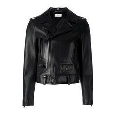 SAINT LAURENT Classic Biker Jacket ($3,877) ❤ liked on Polyvore featuring outerwear, jackets, black, straight jacket, motorcycle jacket, long sleeve jacket, black motorcycle jacket and yves saint laurent