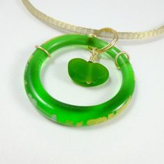 Green Recycled Glass Pendant Gold Mesh Cord by CalliopeAZCreations, $28.00