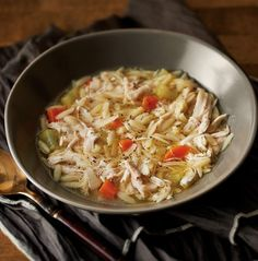 A tasty take on chicken noodle soup, this pressure-cooked meal calls for orzo pasta.