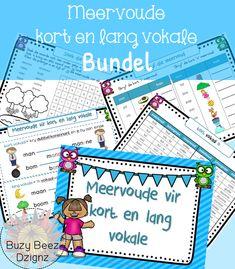 Meervoude vir kort en lang vokale_Bundel_Graad 1,2,3 Afrikaans, Homeschooling, Printables, Education, Learning, Cool Stuff, Crafts, Decor, Manualidades