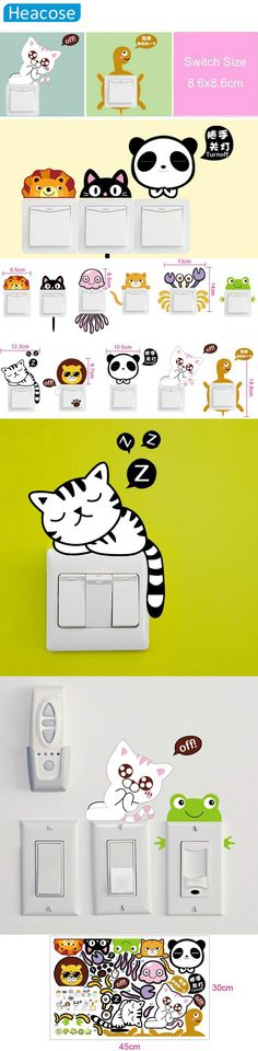 DIY cute Cartoon little animals Cat switch stickers home decor switch wall stickers for kids rooms bedroom decorative wall decal $3.55