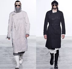 Boris Bidjan Saberi Barcelona Spain 2016-2017 Fall Autumn Winter Mens Runway Catwalk Looks - Mode à Paris Fashion Week Mode Masculine France - Arctic Snow Cold Post-Apocalyptic Explorer Sleek Oversized Outerwear Coat Long Vest Waistcoat Sleeveless Leggings Boots Belts Straps Knit Sweater Jumper Layers Leather Suede Wool Jacket Manskirt Kilt Androgyny Shirtdress Sling Pack Mask Knit Cap Headwear Bag Backpack