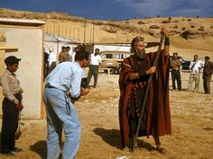 Charlton Heston behind the scenes of The Ten Commandments 1956