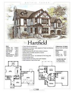 The Hartfield by Studio LLC Description Sheet - Gothic Tudor Victorian House Plans, Vintage House Plans, Gothic House, Victorian Homes, Sims 4 House Plans, Dream House Plans, House Floor Plans, Sims Building, Building A House