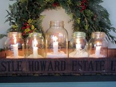 home decor: Christmas jar candles; old wooden box