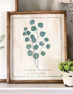 b69084474d521 botanical silver dollar eucalyptus framed sign 18x21