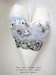 On that Winter Day - Carolyn Saxby Textile Fiber Art, Textile Artists, Carolyn Saxby, Ice Texture, Fabric Hearts, Lavender Bags, Free Motion Embroidery, I Love Heart, Heart Wreath