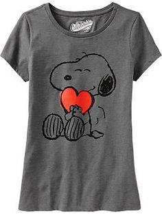 Womens Snoopy® Heart Tees. Cute for a jammie top.