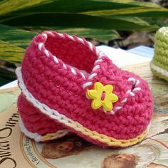 Baby Crochet Pattern Booties Button Loafers PDF 2 by Genevive, $4.95