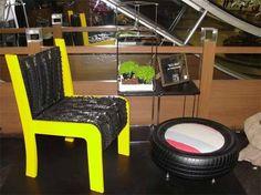 móveis feitos de pneus reciclados