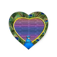 Peacock Wedding Photo Stickers #wedding