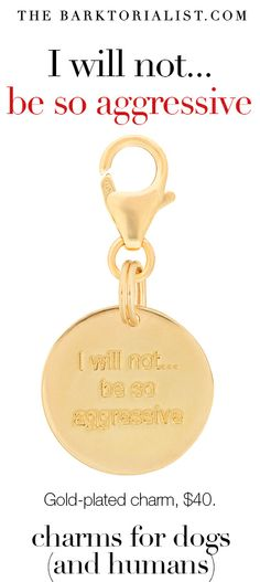 """THE BARKTORIALIST CHARM """"I will not… be so aggressive"""" $40 http://thebarktorialist.com/product/barktorialist-gold-charms-aggressive/ Give your pup (or puppy lover) a reminder infused with the power to overcome"""