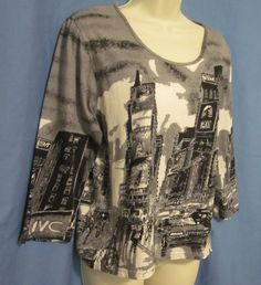 Jane Ashley Womens Shirt Top Gray Black Large Theatre City JVC Chicago Rent CATS #JaneAshley #KnitTop #Casual