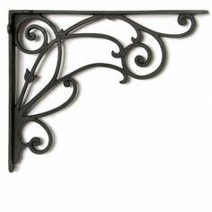 Winding Scrollwork Aluminum Shelf Bracket - - Black Powder Coat
