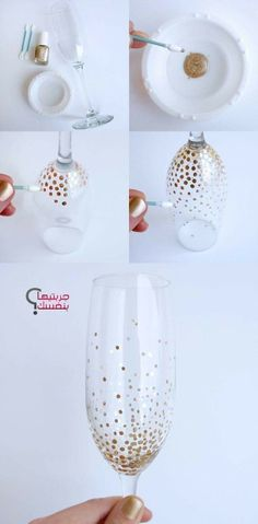 Cadeau mariage original à faire soi-même en 30 idées supers original wedding gift: wine glasses with golden dots Hairstyle easy to do gift ideas to faiDIY the most beautiful DIY Ges Wedding Glasses, Champagne Glasses, Champaign Flutes, Diy Nail Polish, Diy Nails, Manicure, Original Wedding Gifts, Home Crafts, Diy And Crafts