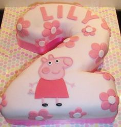 Pink second birthday cake in the shape of the number 2 for girl.JPG
