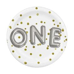 Silver Balloons Gold Confetti ONE 1st Birthday Paper Plate - giftidea gift present idea one first bday birthday 1stbirthday party 1st