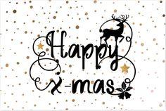 Originele enkel kerstkaart met sier krulletters in handlettering, koper gekleurde confetti stippen op de ondergrond, sterren en kerst icoontjes! Voor 18.00 uur besteld is morgen in huis.