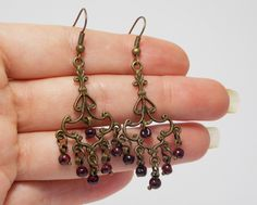 Victorian Chandelier earrings bronze Bridesmaid garnet gemstone eastern connector triangle handmade teens sparkle gift Bohemian dangle drop by UkrainianBeadJewelry on Etsy