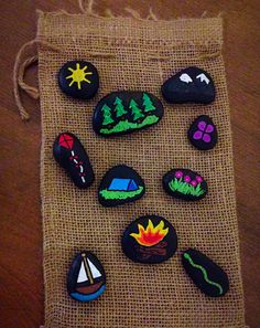 Items similar to Great Outdoors Story Stones on Etsy Pebble Painting, Dot Painting, Pebble Art, Stone Painting, Stone Crafts, Rock Crafts, Projects For Kids, Crafts For Kids, Kindness Projects