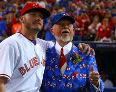 My boy Josh Donaldson & Don Cherry singing take me out to the ball game in a few minutes Blue Jay Way, Go Blue, Baseball Quotes, Sports Baseball, Softball, Ornette Coleman, Don Cherry, No Crying In Baseball, Mlb
