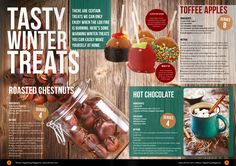 balanced page layout, good color scheme, defined text where to use: maybe for a food drive or breakdown of the basic cafeteria meal Cookbook Design, Menu Design, Food Design, Page Design, Print Design, Graphic Design, Design Ideas, Food Magazine Layout, Magazine Layout Design