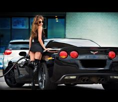 Corvette. If I owned this car I feel like I would have to dress like this girl...even when going to get groceries...probably not going to buy it then... It might be awkward for my kids....sigh