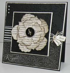 Beautiful black and white handstamped card by Kerin @ Stamps, Paper & Glitter