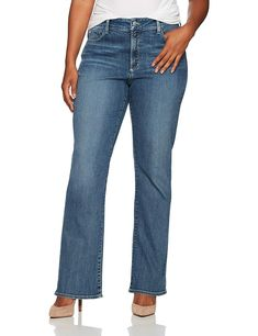 NYDJ Womens Plus Size Barbara Bootcut Jeans Heyburn >>> Learn more by visiting the image link. (This is an affiliate link) Most Comfortable Jeans, Best Jeans For Women, Denim Branding, Jeans And Sneakers, Jeans Brands, Jean Outfits, Bell Bottom Jeans, Plus Size Women, Technology