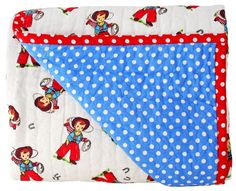 Alimrose Billy Cot Quilt Cowboy Print 100cm x 120cm - Cute AS! Sweet cowboy print fabric reversible cot quilt. Light weight, perfect for summer and winter.