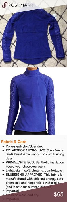 NWT Athleta Vortex half-zip! Brand new, beautiful blue color. Size XXS. Super warm fleece with quilted detail. Has thumb holes & curved hemline. Price is firm unless bundled. Athleta Tops