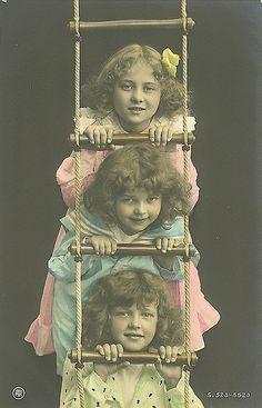 Vintage Postcard ~ 3 Little Girls