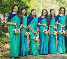 Whatsapp on 9496803123 to customise handwork sarees dresses bridal sarees blouses lehenga gowns etc Indian Bridesmaid Dresses, Bridesmaid Saree, Indian Dresses, Wedding Bridesmaids, Kerala Saree Blouse Designs, Bridal Blouse Designs, Lehenga Gown, Saree Dress, Christian Bridal Saree