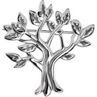 Allurez My Tree of Life Brooch Pin in Plain Metal 14k White Gold