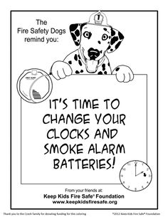 Sparkles The Fire Safety Dog New Coloring Page Its Time To Change Your