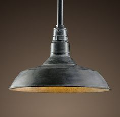 "Vintage Barn Pendant. 10"" Weathered Zinc."