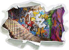 Coloured Streetart Graffiti, Papier 3D Wandsticker Format: 92x67 Cm  Wanddekoration 3D Wandaufkleber