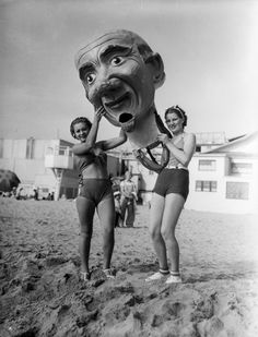 Giant, creepy papier-mâché masks from the Venice Beach Mardi Gras Festival in the Paper Mache Head, Paper Mache Mask, Venice Los Angeles, Miss California, New Orleans Mardi Gras, Old Ads, Venice Beach, These Girls, Photographic Prints