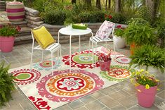 I love this indoor/outdoor rug! #OutdoorBliss #Mohawk  What a delightful, colorful rug.  It would make my patio happy!
