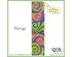 Ponyo    Loom bracelet pattern made with 11/0 Miyuki delica beads.    Width: 4.3cm/1.7  Length: 16.5cm/6.5  Colors: 6  Made for loom - can be done with Square stitch too.    NEW COUPON CODES!    20% discount code: 20PERCENTOFF (Minimum Purchase $13.00)  25% discount code: 25PERCENTOFF (Minimum Purchase $20.00)  35% discount code: 35PERCENTOFF (Minimum Purchase $40.00)    PLEASE NOTE:  You are buying a PATTERN in PDF format. The file will be directly downloadable through Etsy. Y...