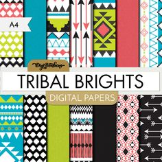 Scrapbook Digital Paper - Tribal Brights A4 paper size - Repeating Pattern - Bright Aztec Colors, commercial use included by DigiBonBons on Etsy