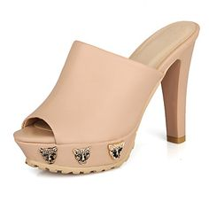 talón de los zapatos de los deslizadores de diapositivas gruesos de las mujeres (más colores) – USD $ 39.99