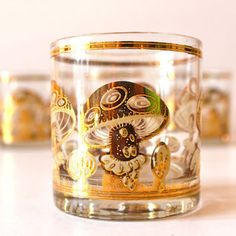 Set of Six Vintage Culver Mushroom Bourbon Glasses