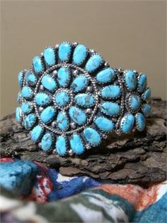 Zuni Turquoise Cluster Bracelet - Native American Indian Jewelry