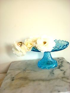 Vintage Blue Glass Cake Stand.