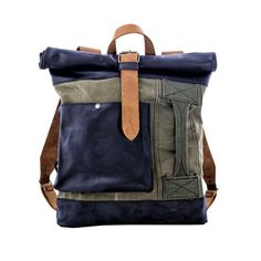 Canvas and leather backpack with vintage upcycled by KrukGarage