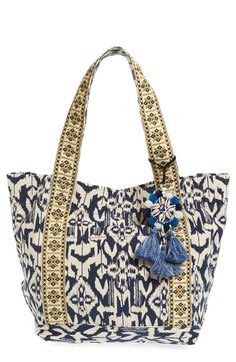 3851938c3e187 Steven by Steve Madden Ikat Print Canvas Beach Tote with Shell Tassel Charm  available at