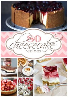 80 Cheesecake Recipes Cheesecake is one of my sweetie's favorite desserts, so these are going to come in handy. No Bake Desserts, Just Desserts, Delicious Desserts, Dessert Recipes, Yummy Food, Cookies Et Biscuits, Cheesecake Recipes, Sweet Recipes, Yummy Recipes