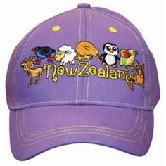 Child Cap Purple Assorted Wildlife. Child age approx 3 -7 years on this adjustable cap. It is a lovely purple coloured cap with Pukeko, Sheep, Kiwi, Takahe and other Kiwi friends embroidered onto it. A lovely colourful reminder of you holiday in New Zealand.  &nbs