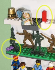 Display your thimble collection. Display your army and military men collection. Use LEGO bricks to create guards and curbs to protect your collectible from falling.
